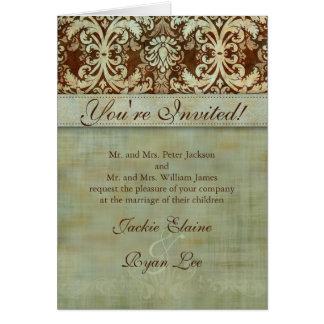 Wedding Cards Damask Brown Green Vintage