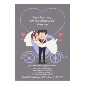 Wedding Carriage Grey Post Wedding Brunch Card