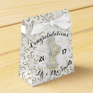 WEDDING CARTOON Tent with Ribbon Favor WHITE Wedding Favour Boxes