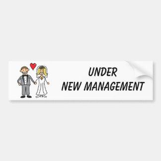 Wedding Cartoon - Under New Management Bumper Sticker