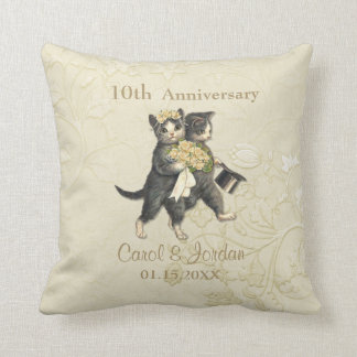 Wedding Cats 10th Anniversary on Ivory- Customize Cushions