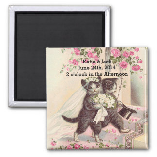 Wedding Cats Bride and Groom Square Magnet