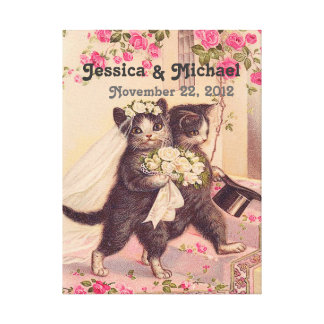 Wedding Cats Customizable Wedding Date Gallery Wrapped Canvas