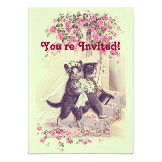 Wedding Cats Pastel Green Card