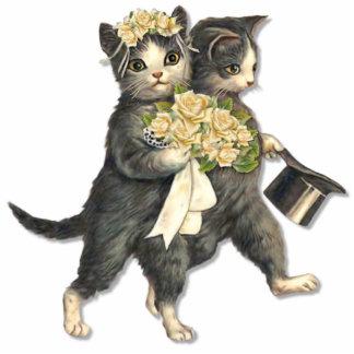 Wedding Cats Standing Photo Sculpture