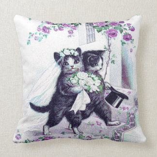 Wedding Cats Vintage Bride and Groom Cushion