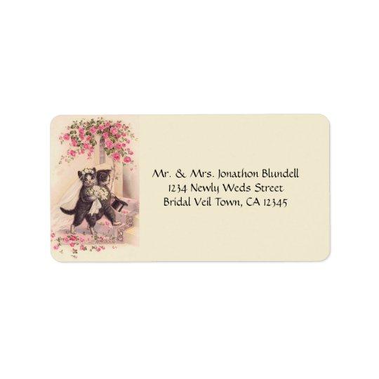 Wedding Cats Vintage Label