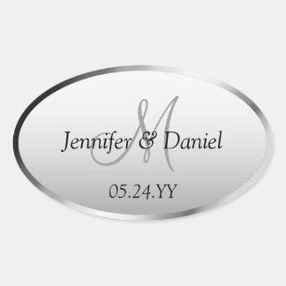 Wedding Celebration Artistic Custom Monogram Names Oval Sticker