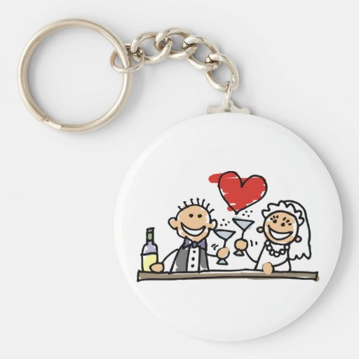 Wedding Celebration Basic Round Button Key Ring