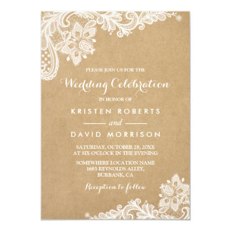 Wedding Celebration Classy Floral Lace Kraft Card