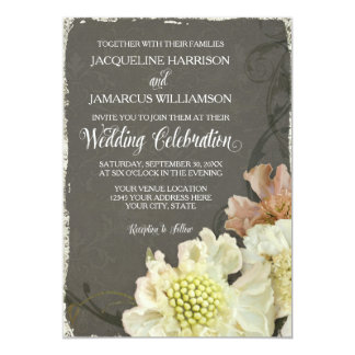 Wedding Celebration Modern Painterly Fall Floral Card