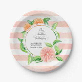 Wedding Celebration Pink Striped Citrus Orange Art Paper Plate