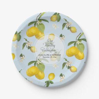 Wedding Celebration Royal Blue Lemon Flower Citrus Paper Plate