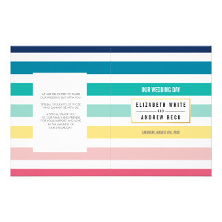 WEDDING CEREMONY cute fun stripe pastel colors 14 Cm X 21.5 Cm Flyer