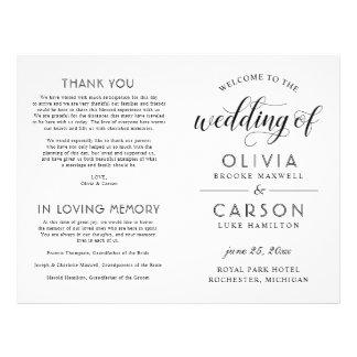 Elegant Black White Wedding Program Flyers