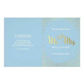 WEDDING CEREMONY PROGRAM mini gold confetti blue 14 Cm X 21.5 Cm Flyer