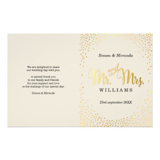 WEDDING CEREMONY PROGRAM mini gold confetti ivory 14 Cm X 21.5 Cm Flyer