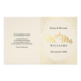 WEDDING CEREMONY PROGRAM mini gold confetti ivory 14 Cm X 21.5 Cm Flyer