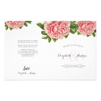 WEDDING CEREMONY PROGRAM pink floral peony flower 14 Cm X 21.5 Cm Flyer