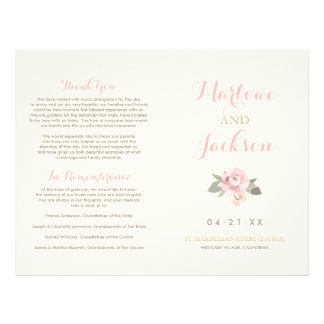 Wedding Ceremony Program | Pink Peony Flower Flyer