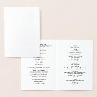WEDDING CEREMONY PROGRAM stylish mini confetti dot Foil Card