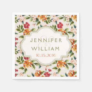 Wedding Ceremony Reception Elegant Vintage Floral Disposable Napkins