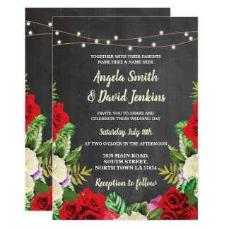 Wedding Chalk Lights Red Roses Elegant Invite