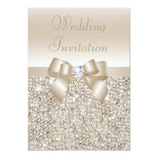 Wedding Champagne Sequins, Bow & Diamond 13 Cm X 18 Cm Invitation Card