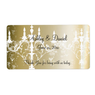 Wedding /Chandelier & Champagne Water/Wine Label Shipping Label