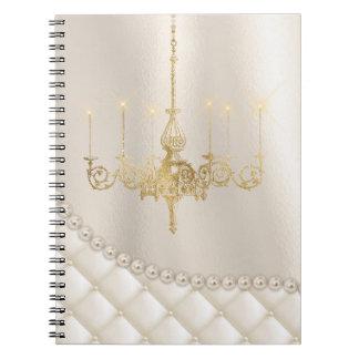 Wedding Chandelier Lighting Ivory Pearl Guest Book Notebooks
