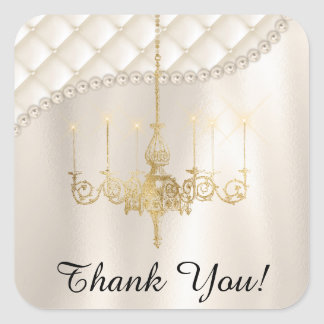 Wedding Chandelier Lighting Satin Ivory Thank You Square Sticker