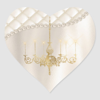 Wedding Chandelier Lighting White Ivory Thank You Heart Sticker