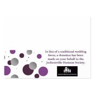 Wedding Charity Favor Card & Place Setting Pack Of Chubby Business Cards