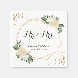 Wedding Chic Modern Ivory Gold Glitters Floral Disposable Napkins