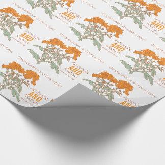 Wedding chrysanthemum orange name date wrap wrapping paper