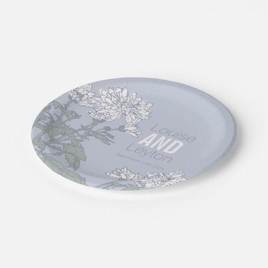 Wedding chrysanthemum white flower custom plates 7 inch paper plate