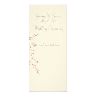 Wedding Church Program Cards Cherry Blossom 10 Cm X 24 Cm Invitation Card