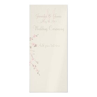 Wedding Church Program Cards Cherry Blossoms 10 Cm X 24 Cm Invitation Card