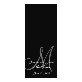 Wedding Church Program Monogram Black & White 10 Cm X 24 Cm Invitation Card
