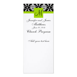 Wedding Church Program Monogram Damask Green