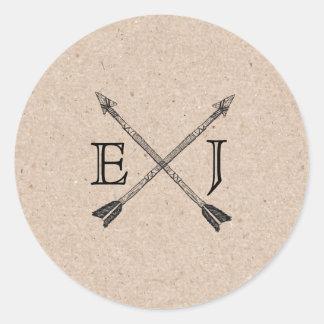 Wedding Circle Sticker Initials Arrow Kraft Paper