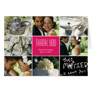 Wedding Collage Thank You Card - Fuchsia