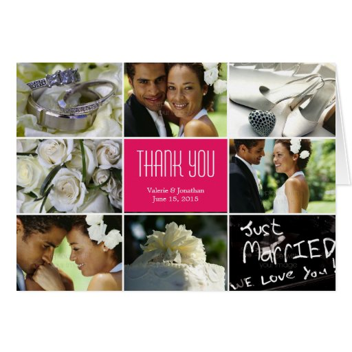 Wedding Collage Thank You Card - Fuchsia Greeting Cards