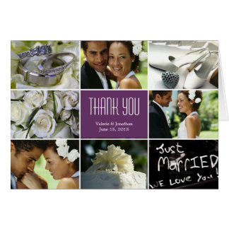 Wedding Collage Thank You Card - Purple