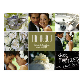 Wedding Collage Thank You Postcard - Sage