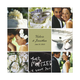 Wedding Collage Wrapped Canvas - Custom Colour Canvas Print
