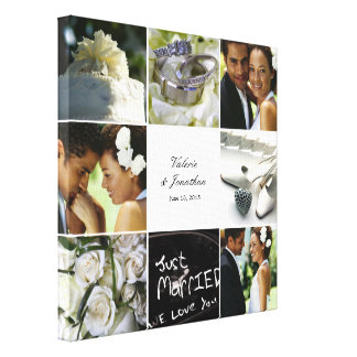 Wedding Collage Wrapped Canvas - White Stretched Canvas Print