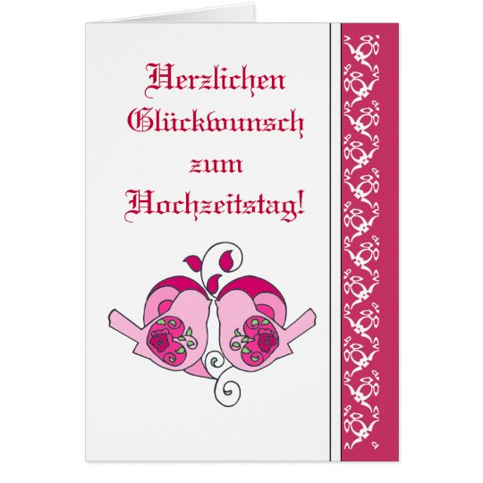 Wedding Congratulations Floral Heart Bird German Card