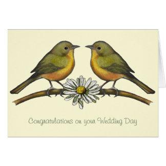 Wedding Congratulations: Two Birds, Daisy: Art Card