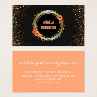 Wedding Consultant | Chic Floral Gold Glitter Business Card
